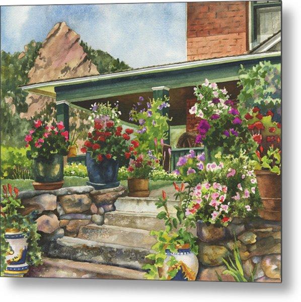 Porch Garden Metal Print