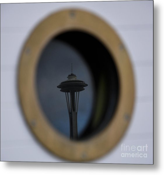 Port Hole Reflection Of The Space Needle Metal Print by Camille Lyver