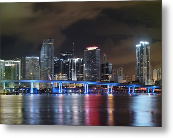 Port Of Miami Downtown Metal Print