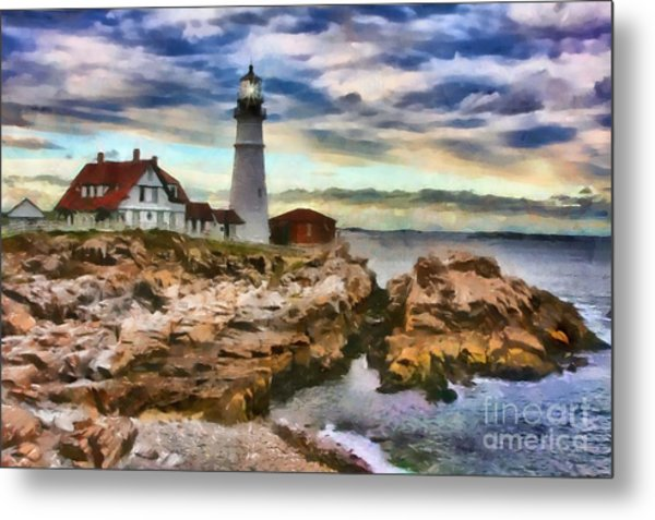 Portland Head Lighthouse In Portland Maine Metal Print