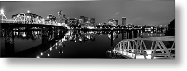 Portland In Black And White Metal Print