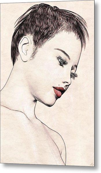 Portrait - No. 10 - Red Lips Metal Print