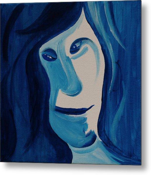 Portrait In Blue Metal Print