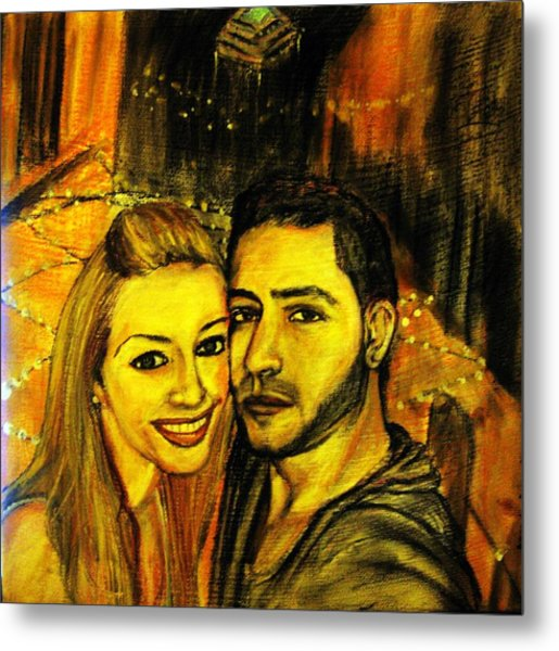Portrait Of A Young Couple Metal Print