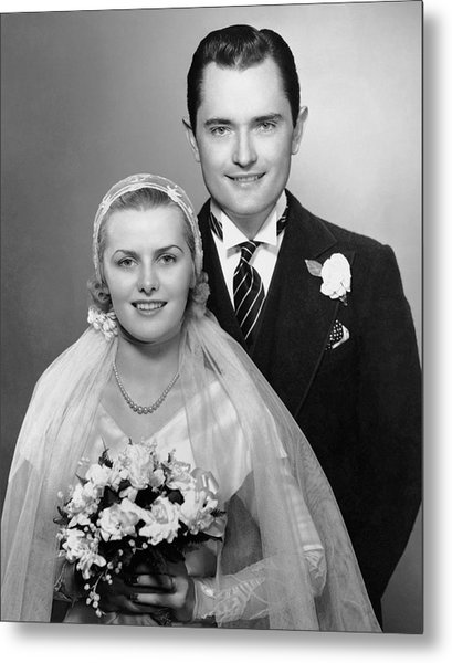 Portrait Of Bride & Groom Metal Print by George Marks