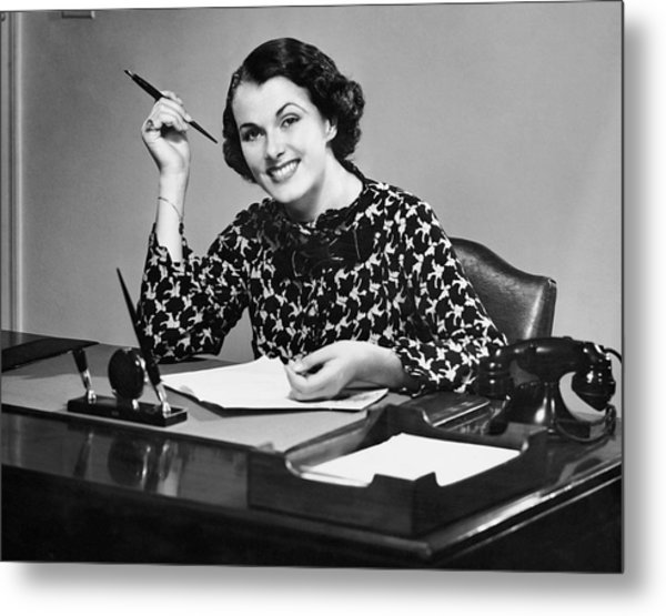 Portrait Of Businesswoman At Desk Metal Print by George Marks