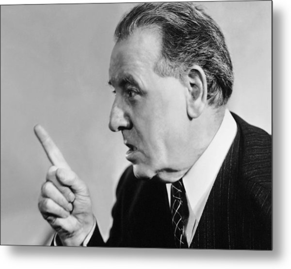 Portrait Of Mature Man Speaking With Authority Metal Print by George Marks