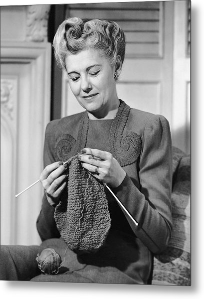 Portrait Of Mature Woman Crocheting Metal Print by George Marks