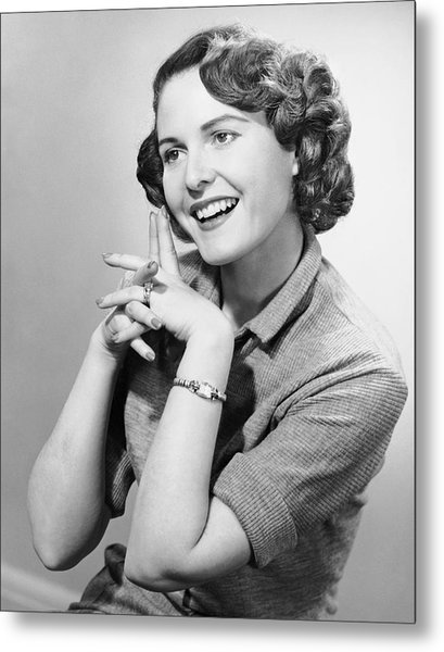 Portrait Of Smiling Woman Metal Print by George Marks