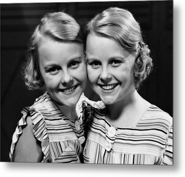 Portrait Of Twin Girls Indoor Metal Print by George Marks