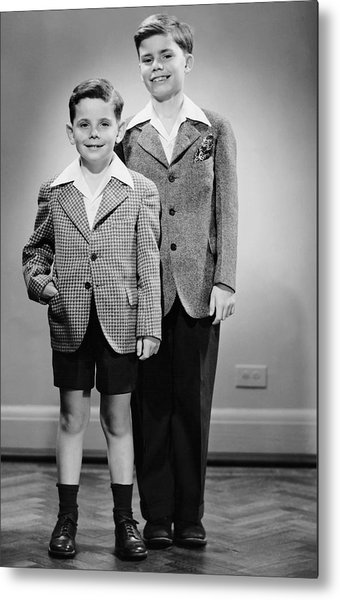Portrait Of Two Boys Indoor Metal Print by George Marks