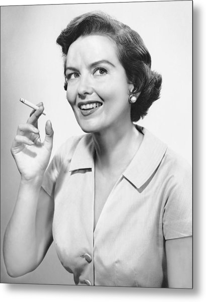 Portrait Of Woman Holding Cigarettte Metal Print by George Marks