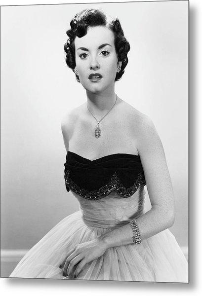 Portrait Of Woman In Evening Wear & Jewelry Metal Print by George Marks