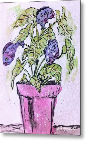 Potted Fish Metal Print