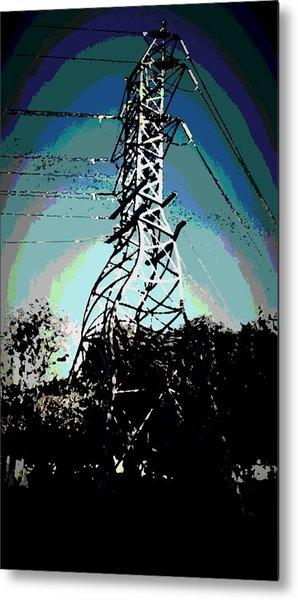 Power Tower Melting Metal Print by David Alvarez