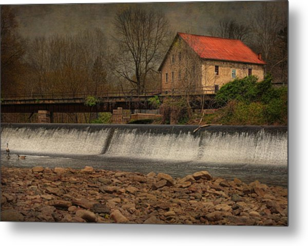 Prallsville Grist Mill And The Spillway Metal Print
