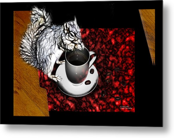 Prayer Over Coffee - Robbie The Squirrel Metal Print