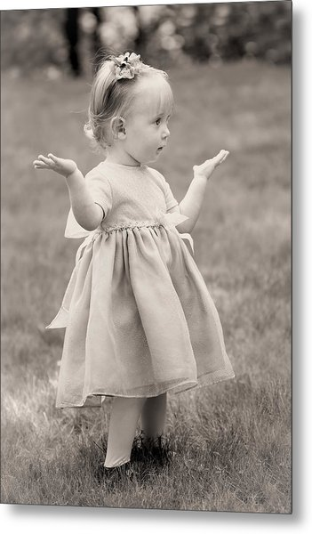 Precious Vintage Girl In Dress Metal Print