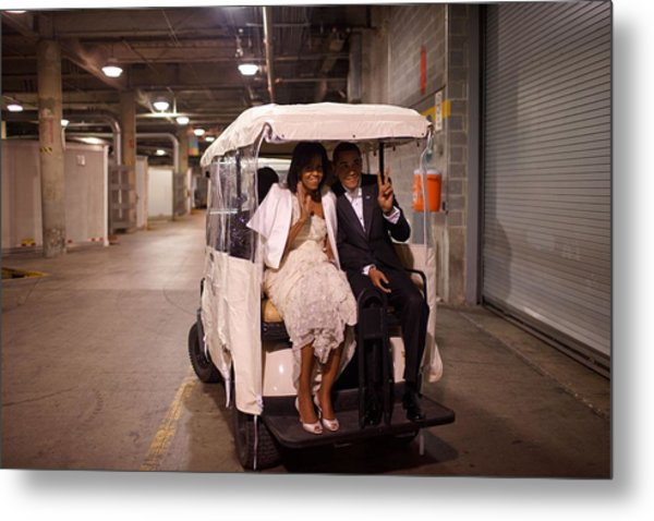 President And Michelle Obama Ride Metal Print by Everett