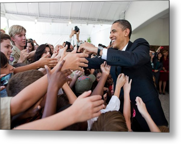 President Barack Obama Greets Young Metal Print by Everett