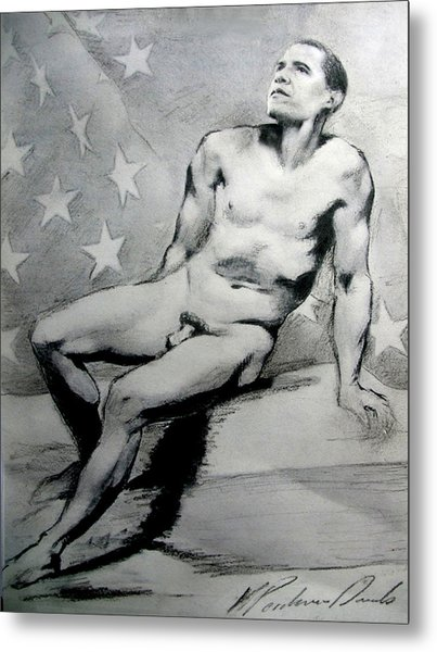 President Barack Obama Nude Study Metal Print
