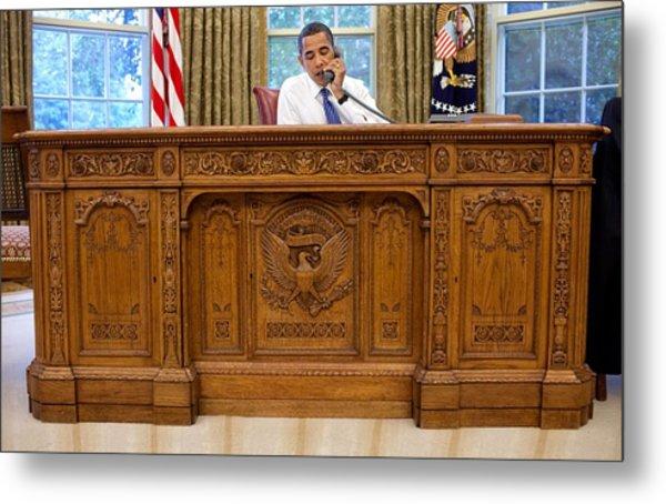 President Barack Obama Sits Metal Print by Everett