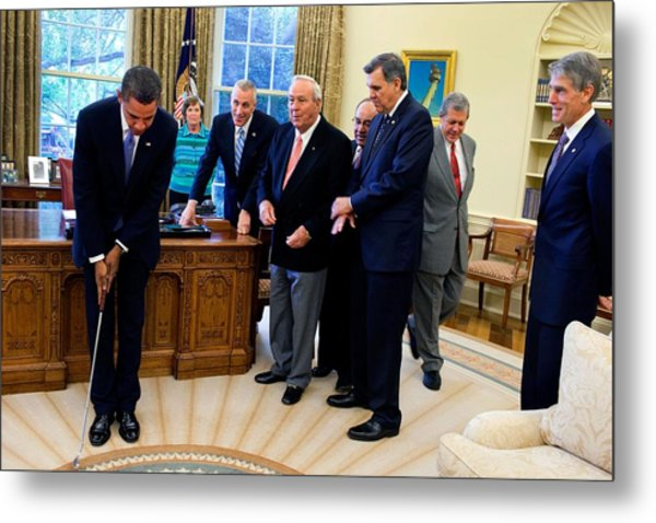 President Barack Obama Takes A Practice Metal Print by Everett