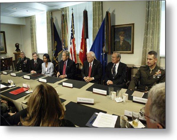 President George W. Bush And Members Metal Print by Everett
