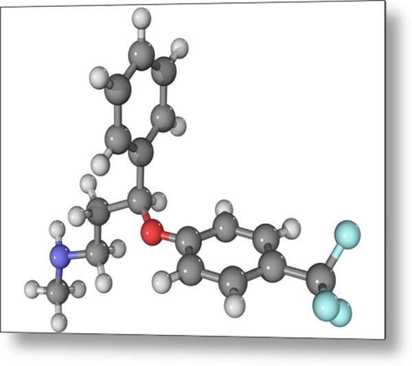 Prozac Antidepressant Molecule Metal Print by Laguna Design