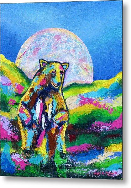 Psychedelic Bear Metal Print