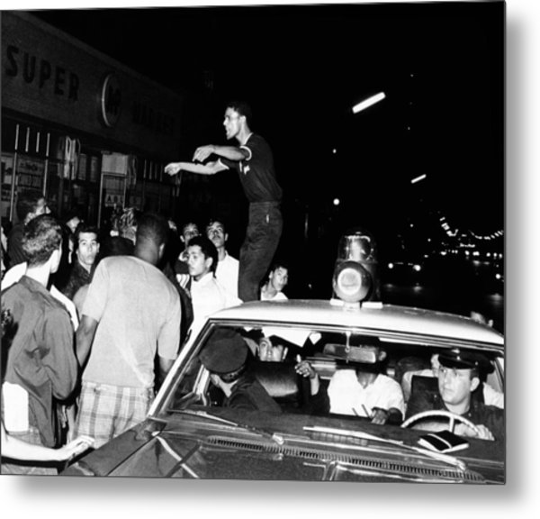 Puerto Rican Youth Standing On A Police Metal Print by Everett