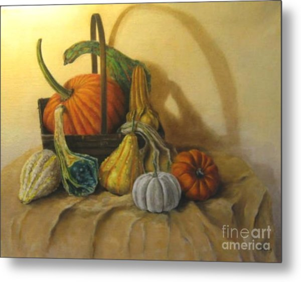 Pumpkin In A Basket Metal Print