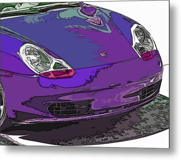 Purple Porsche Nose 2 Metal Print