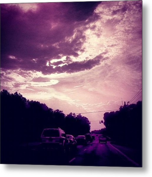 #purple #sky #clouds #driving Metal Print