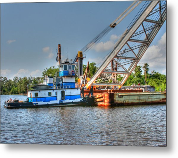 Push Boat And Barge Metal Print by Barry Jones