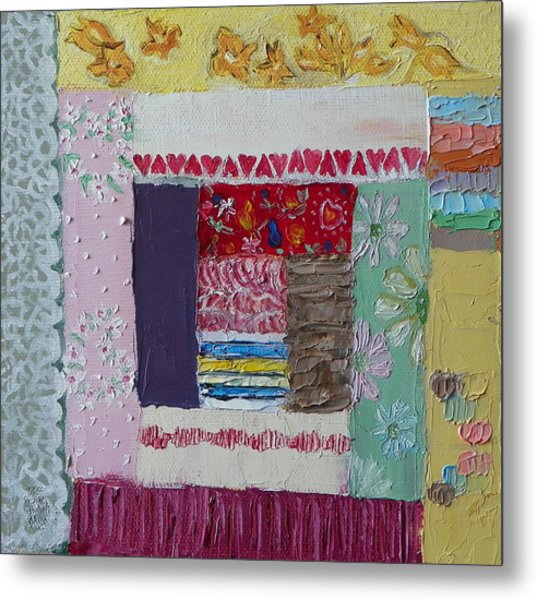 Q Is For Quilt Detail From Childhood Quilt Painting Metal Print