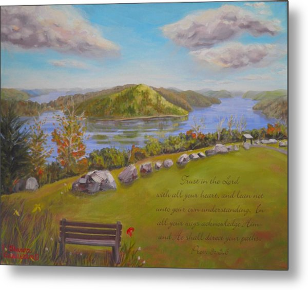 Quabbin Reservoir With Verse Metal Print