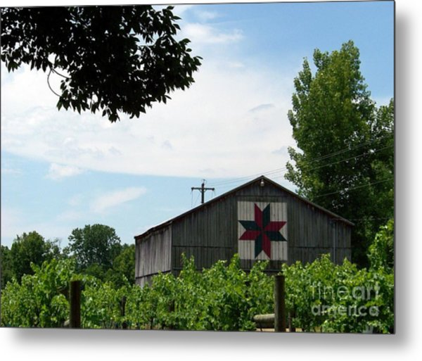 Quilted Barn And Vineyard Metal Print