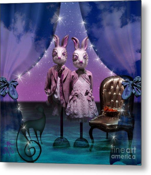 Rabbits In Love Metal Print