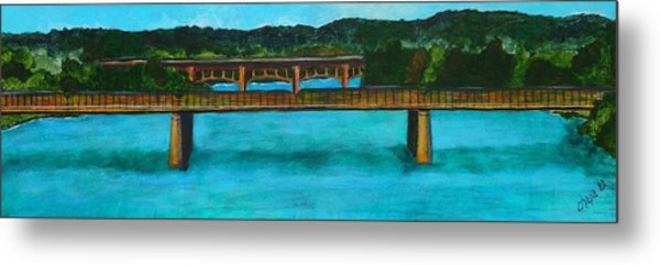 Railroad Bridge At Lady Bird Lake Austin Texas Metal Print