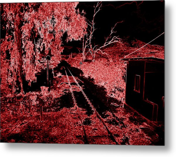Railroad Crossing Glowing At Night In Red Black Neon Look On The Way From Mycenae To Olympia Greece Metal Print by John Shiron