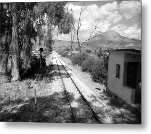 Railroad Crossing In Black And White On The Way From Mycenae To Olympia In Greece Metal Print