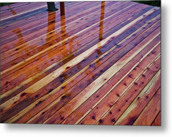 Rain On Redwood Deck Metal Print