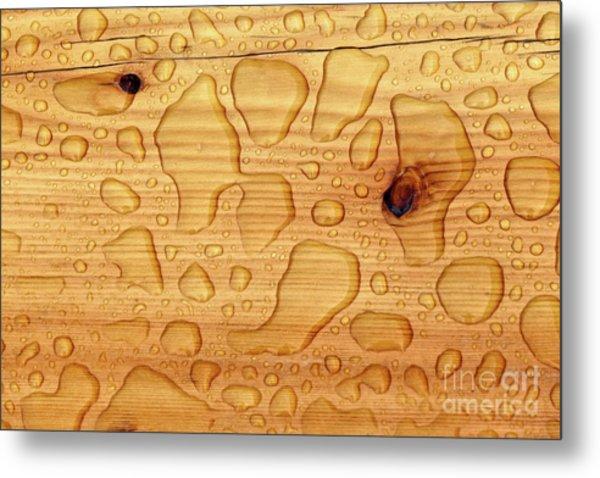 Rain On Wood Metal Print