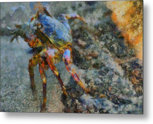 Rainbow Crab Metal Print