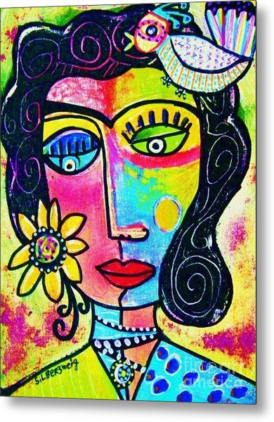 Rainbow Sunshine Frida Metal Print