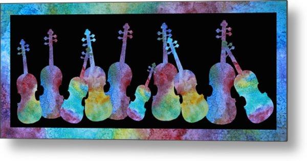 Rainbow Washed Violins Metal Print