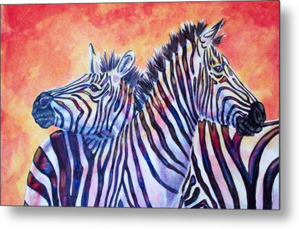 Rainbow Zebras Metal Print by Diana Shively