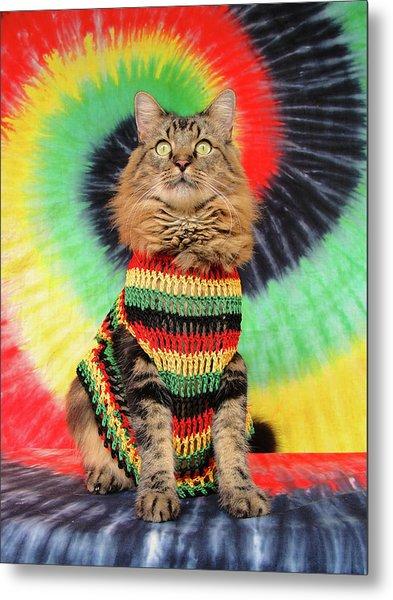 Rasta Cat Metal Print