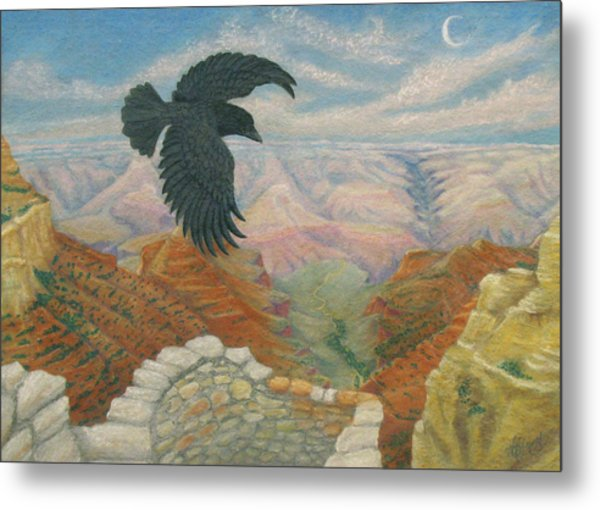 Raven Over The South Rim  Metal Print by Marcia  Perry